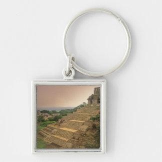Palenque, Chiapas, Mexico, Maya Silver-Colored Square Key Ring