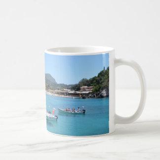 Paleokastritsa Beach, Corfu Basic White Mug