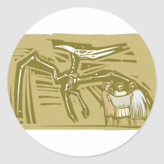Paleontologists Pterodactyl Fossil Round Stickers