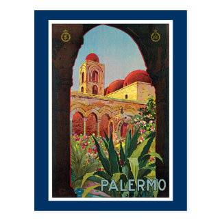 Palermo, Italy Vintage Travel Advertisement Postcard