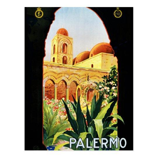 Palermo Sicilia Vintage Travel Poster Restored Postcard