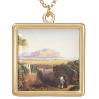 Palermo, Sicily, 1847 (oil on canvas) Gold Plated Necklace