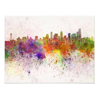 Palermo skyline in watercolor background photographic print