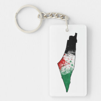 Palestine Country Outline Flag Key Ring