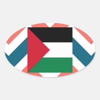 Palestine Flag Box on Colorful Chevron Oval Sticker