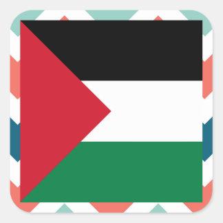 Palestine Flag Box on Colorful Chevron Square Sticker