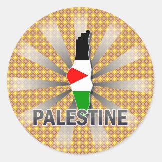 Palestine Flag Map 2 0 Round Sticker