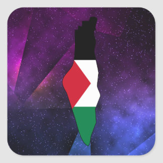 palestine Flag Map on abstract space background Square Sticker