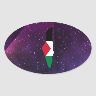palestine Flag Map on abstract space background Oval Sticker