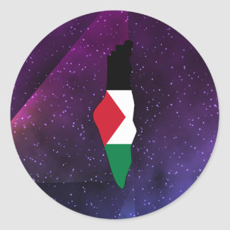 palestine Flag Map on abstract space background Round Sticker