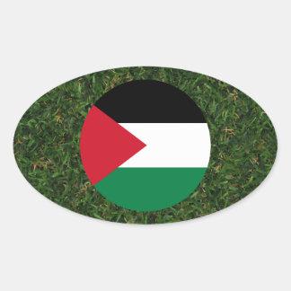 Palestine Flag on Grass Oval Sticker