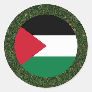 Palestine Flag on Grass Round Sticker