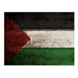 Palestine Flag on Old Wood Grain
