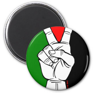 PALESTINE FLAG PEACE SIGN 6 CM ROUND MAGNET