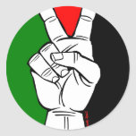 PALESTINE FLAG PEACE SIGN ROUND STICKER