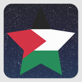 Palestine Flag Star In Space Square Sticker