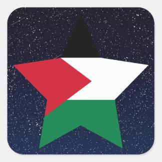 Palestine Flag Star In Space Square Sticker