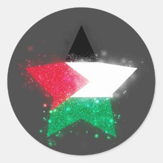 Palestine Flag Star Shining Round Sticker