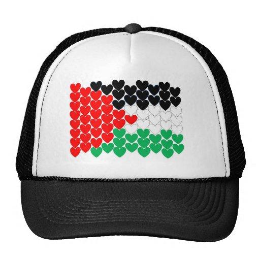 Palestine hearts hats