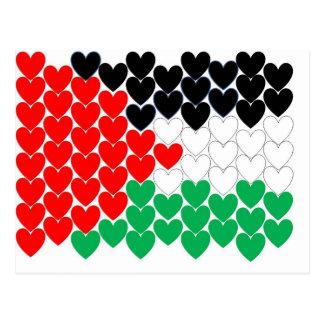 Palestine hearts postcard