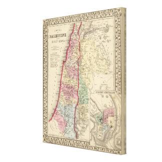 Palestine, Jerusalem Map by Mitchell Stretched Canvas Print
