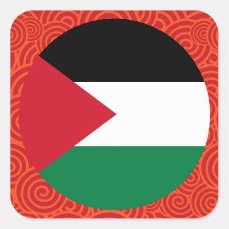 Palestine round flag square sticker