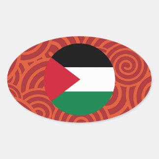 Palestine round flag oval sticker