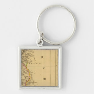 Palestine, the Kingdom of the Israelites Silver-Colored Square Key Ring