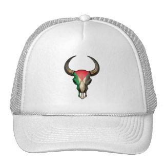 Palestinian Flag Bull Skull Mesh Hats