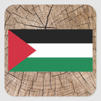 Palestinian flag on tree bark square sticker