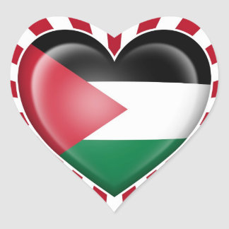 Palestinian Heart Flag with Sun Rays Heart Sticker