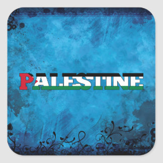 Palestinian name and flag on cool wall square sticker