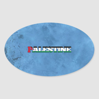 Palestinian name and flag on cool wall oval sticker