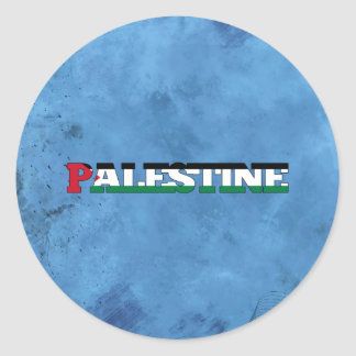Palestinian name and flag on cool wall round sticker