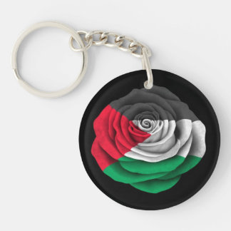 Palestinian Rose Flag on Black Double-Sided Round Acrylic Key Ring
