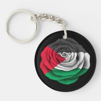 Palestinian Rose Flag on Black Key Ring