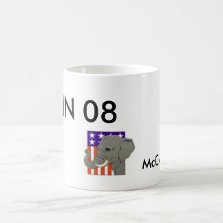 PALIN 08, McCAIN too Basic White Mug