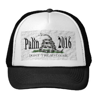 PALIN 2016 Cap, Black 3D, White Gadsden Trucker Hat