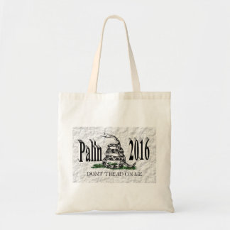 PALIN 2016 Tote Bag, Black 3D, White Gadsden Budget Tote Bag