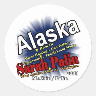 Palin Moose Hunting Mama Classic Round Sticker