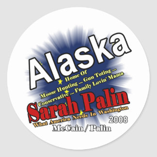 Palin Moose Hunting Mama Round Sticker