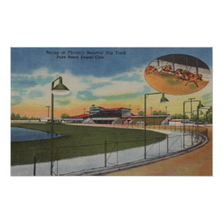 Palm Beach, FL - Kennel Club, Dog Racing Track Poster