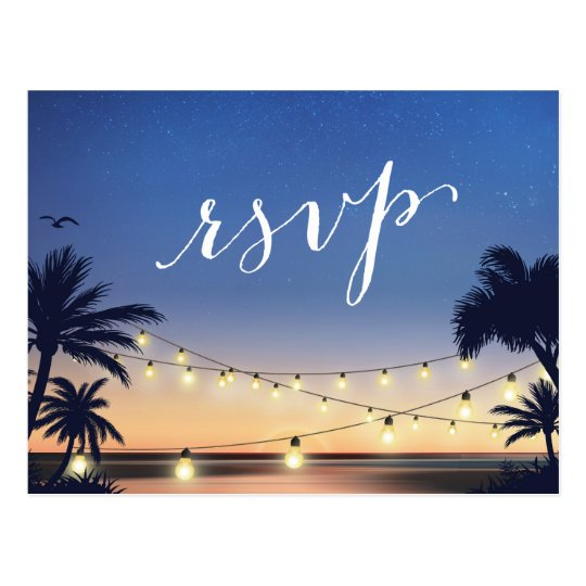 Palm Beach String Lights Summer Sunset RSVP Reply