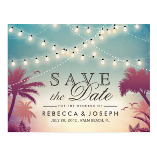 Palm Beach String Lights Wedding Save the Date Postcard