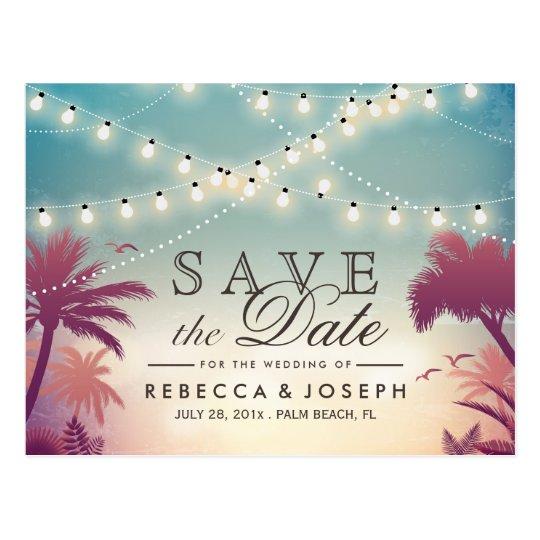 Palm Beach String Lights Wedding Save the Date