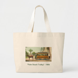 """Palm Beach Trolley"" - 1905 Large Tote Bag"