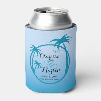 Palm Beach Tropical Logo   sky blue Can Cooler