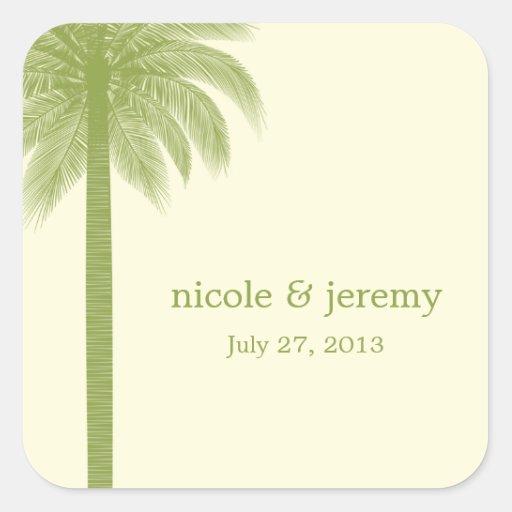 Palm Beach Wedding Favor Sticker - Green Square Stickers