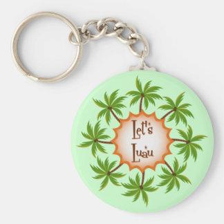 Palm Circle Luau Basic Round Button Key Ring
