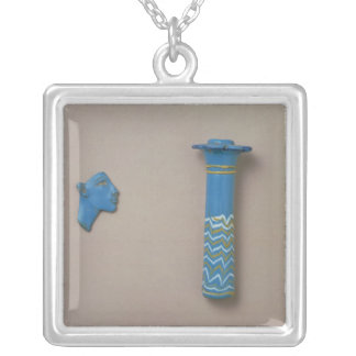 Palm column kohl flask and fragment of inlay silver plated necklace